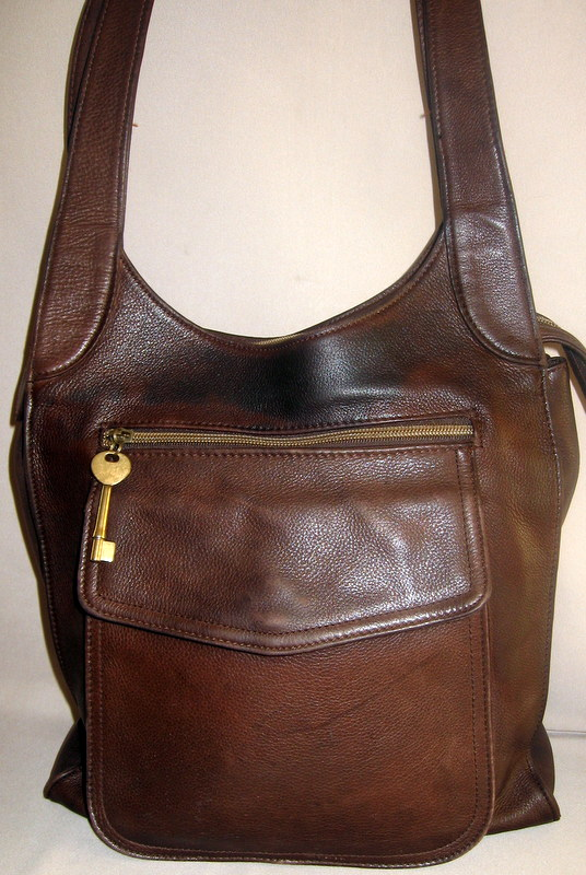 Large Brown Pebbled Leather Fossil Bag Sold