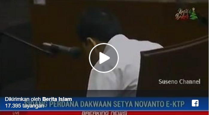 VIDEO: Ditanya Hakim, Apakah Sodara Mendengarkan Saya? Novanto Tetap Menunduk Seperti Tertidur
