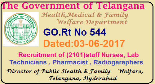 Recruitment of staff Nurses, Lab Technicians,Pharmacist,Radiogaraphers in Health and Family welfare Department. Filling up of the vacant posts of paramedical staff and nurses under the control of Director of Medical Education, Telangana / Director of Public Health & Family Welfare, Telangana and Commissioner, Vaidya Vidhana Parishad, Telangana on contract / outsource basis – Permission - Accorded - Orders – Issued./2017/06/recruitment-of-paramedicai-staff-nurses-director-omedical-education-public-health-family-welfare-contract-outsource-basis.html