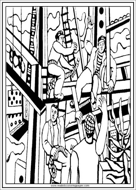 builders fernand Leger adults coloring pages free