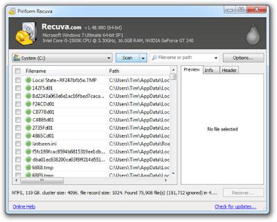 Cara Mengembalikan File / Foto / Data / Video Penting Terhapus dengan Aplikasi Recuva