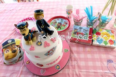 paw patrol chase tridimensionale torta decorata pasta di zucchero cake design polvere di zucchero