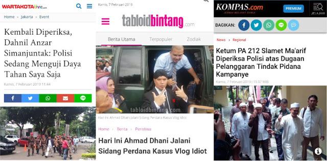 Serentak Hari ini, 3 Pendukung Prabowo Diperiksa dan Disidang