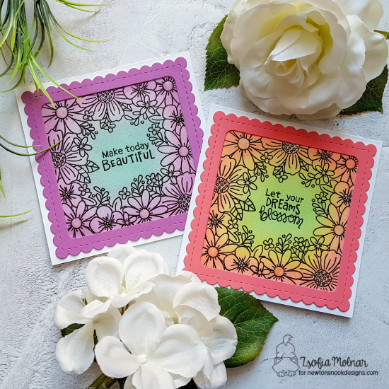 Square Flower Cards by Zsofia Molnar | Floral Fringe Stamp Set and Frames Squared Die Set by Newton's Nook Designs #newtonsnook #handmade