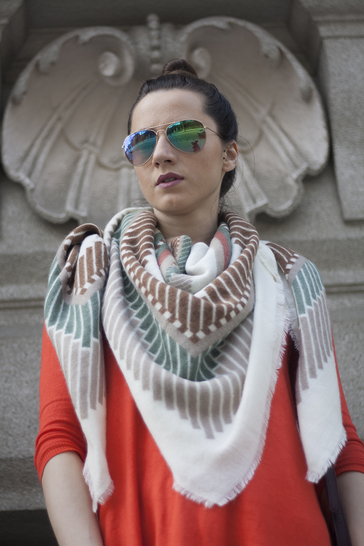 Short Stripe Fringed Shawl Scarf - Beige