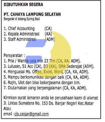 Lowongan Kerja Pt Cahaya Lampung Selatan