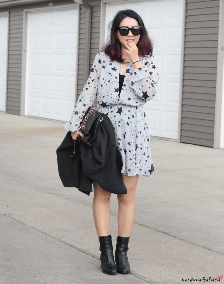 OOTD: Lover + Friends Lana Dress, Via Spiga Ankle Boots Alden, Rebecca Minkoff Studded Bag