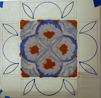 Center tile, almost ready for the kiln