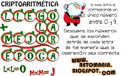 Alfaméticas, Alfamética, Criptoaritmética, Criptosuma, Navidad, Retos matemáticos, Desafíos matemáticos, Problemas matemáticos, Problemas de ingenio, Problemas matemáticos con solución