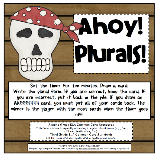"FREE LANGUAGE ARTS LESSON - ""Ahoy! Plurals"""
