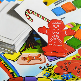 photorealistic painting of candy land board game by artist kim testone