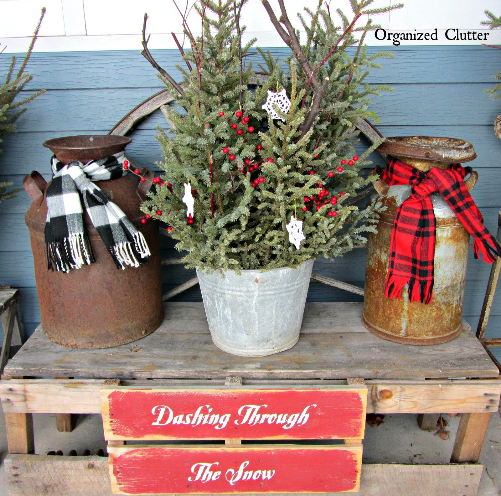 Pails, Milk Cans, Weathered Wood & Christmas Greenery www.organizeclutterqueen.blogspot.com