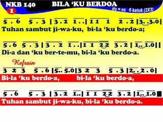 Lirik dan Not NKB 140 Bila 'Ku Berdoa