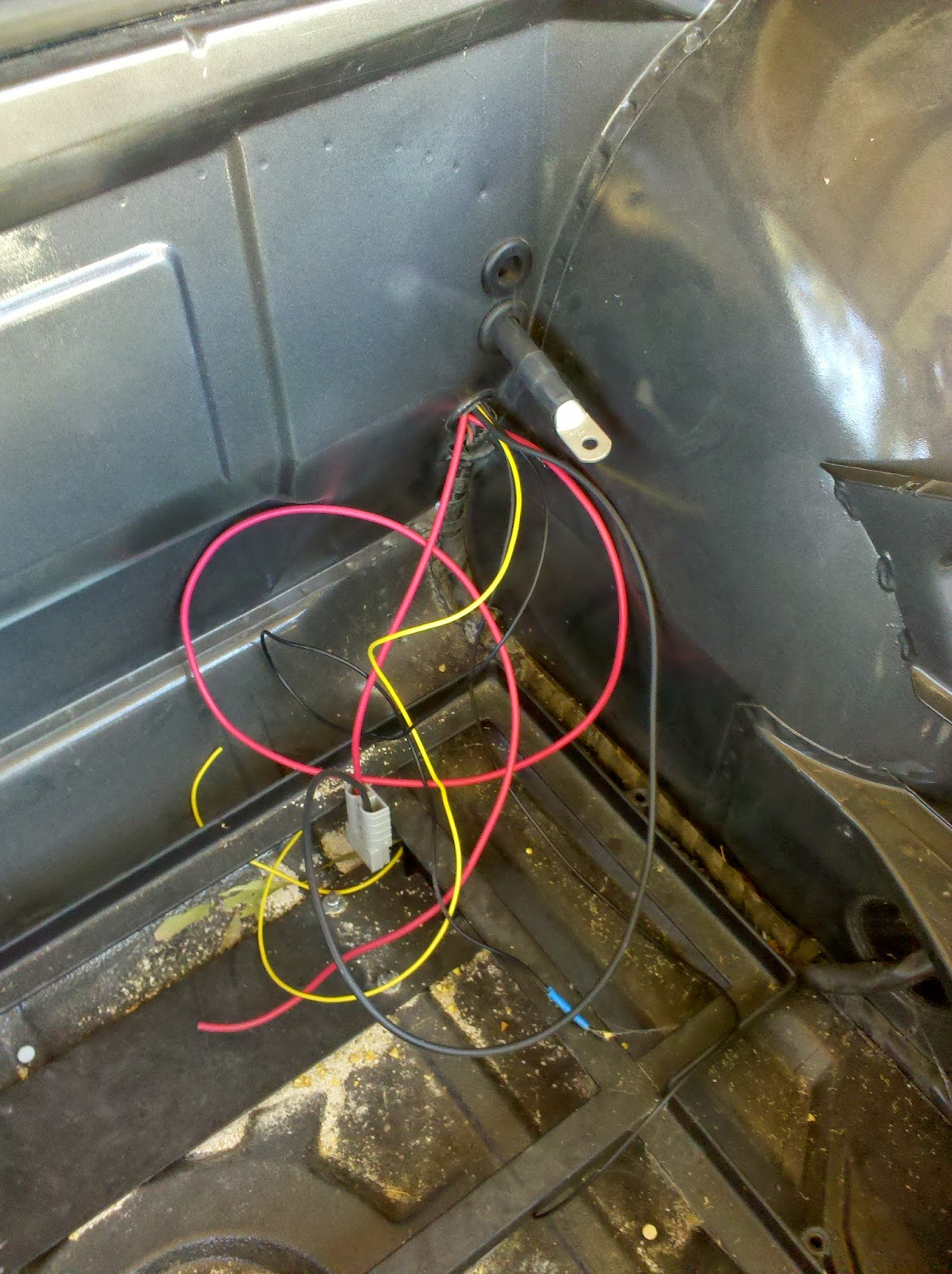 Porsche 914e Electric Conversion And Tesla Obsession Continuing The 914 Wiring Harness Back In Engine Compartment Theres A Pair Of Wires Coming From Backup Light Signal Transmission To Splice Block Join For
