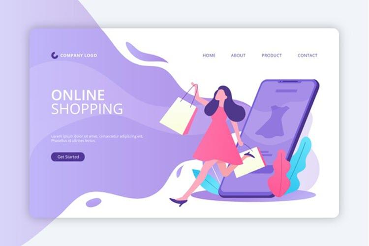 Download Wallpaper Flat Design Shopping Online Landing Page Template