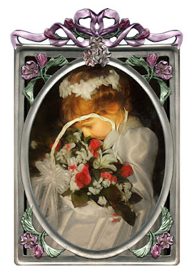 Sweet little girl with basket of flowers in a metal frame.