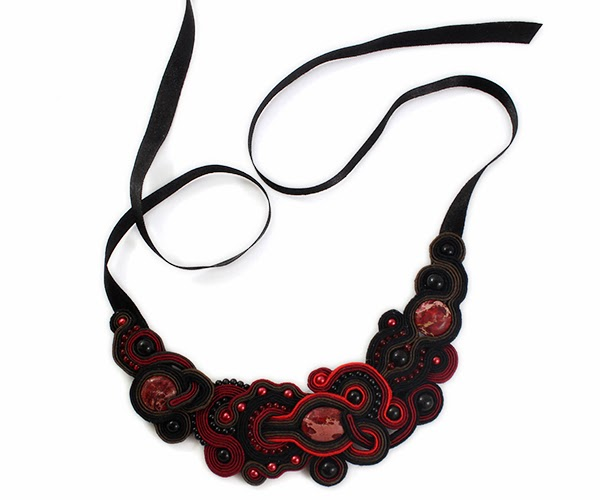 beautiful soutache necklace, claret, red and brown colours, jasper