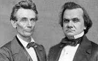 Abraham Lincoln Photo next to stephen Douglas photo