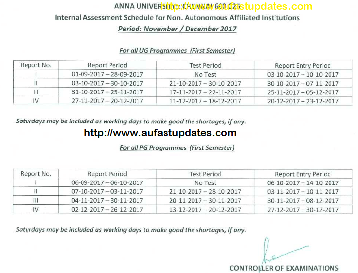Anna University 1st Year Internal Assessment Schedule for August - December 2017 Examinations