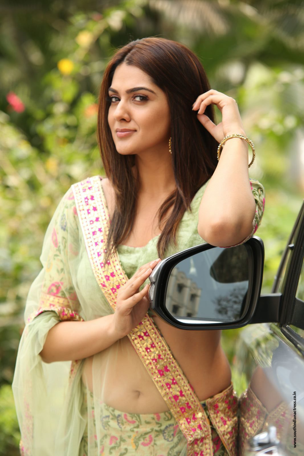 Sakshi Chaudhary in Choli Transparent half saree at Oollo Pelliki Kukkala Hadavidi Movie Audio Launch