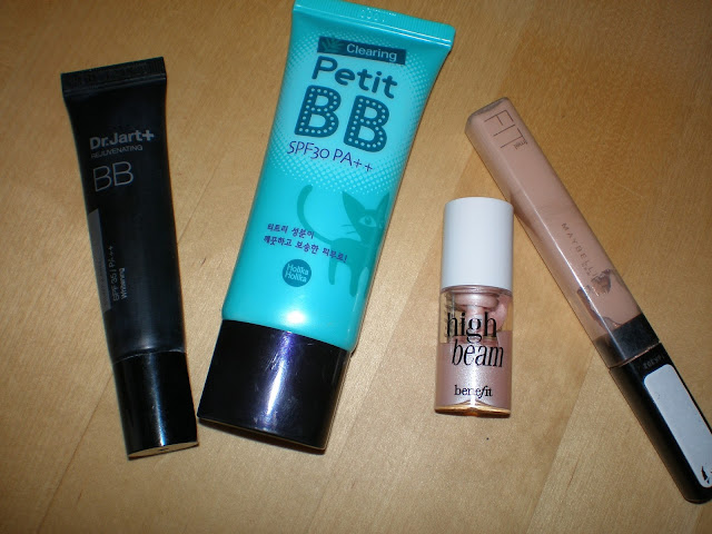 L-R:Dr. Jart+ Silver Label Rejunenating BB, Holika Holika Clearing Petit BB, Benefit High Beam, Maybelline Fit Me