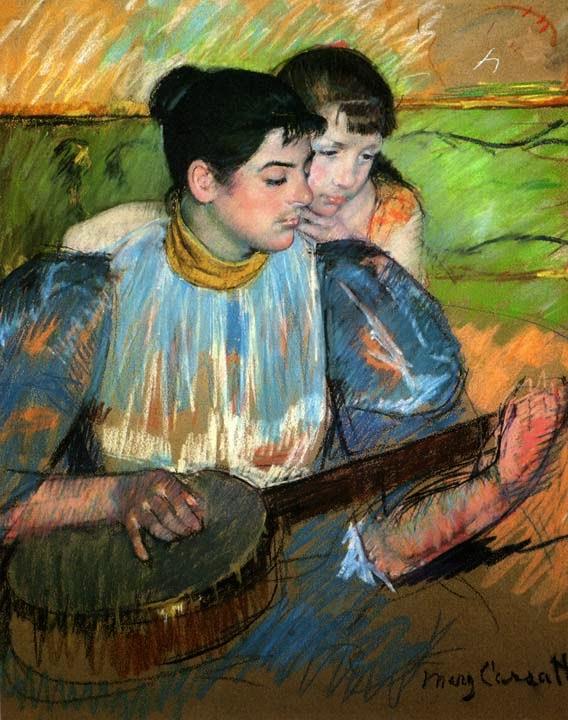 A Lição de Banjo - Pinturas de Mary Cassatt | Mulheres na pintura