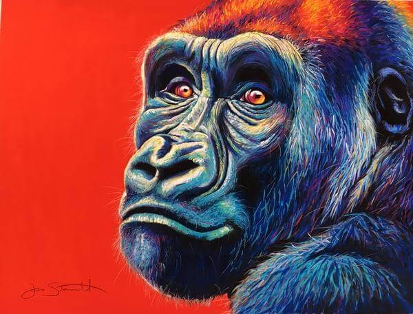 03-Western-Lowland-Gorilla-Large-Scale-Soft-Pastel-Drawings-Of-Wild-Ainimals-www-designstack-co