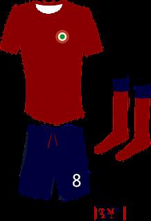 La maglia rossa con pantaloncini blu: la divisa della Coppa Italia e della finale contro il Blackpool nell'Anglo-Italiano del 1971, in una mia rivisitazione grafica.
