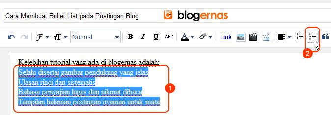 Cara Membuat Bullet List pada Postingan Blog
