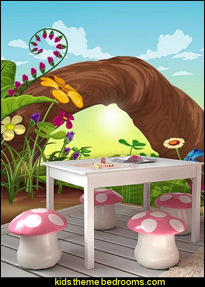 Mushroom Chairs for Kids Room Fantasy Hill wall mural