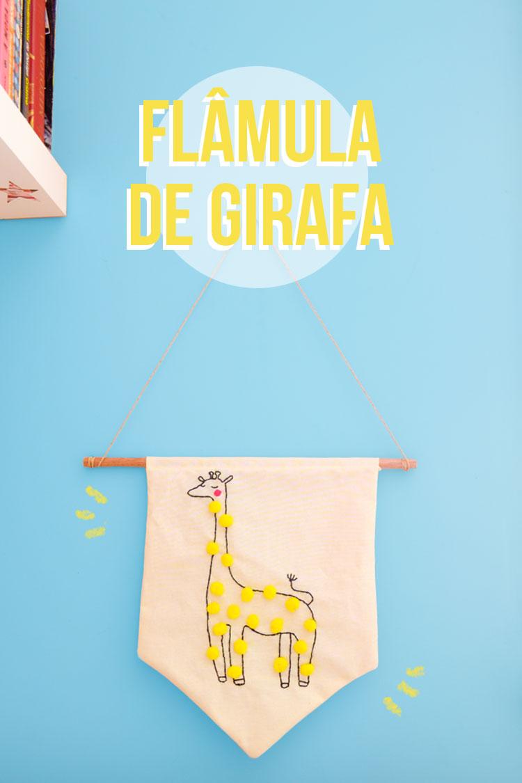 Para decorar: flâmula (pôster) de girafa com pom-pom! | espanta-papão