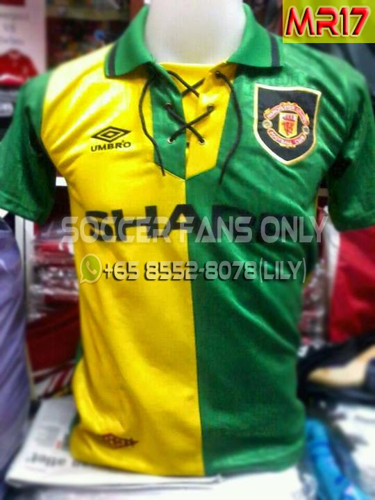 3a8a909fe True Red Devils  Manchester United Green Yellow Sharp Umbro 92-94