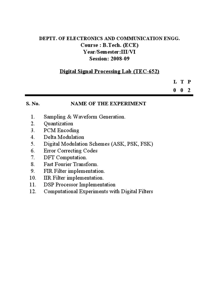 Signal Processing Lab 15 Solutions Manual