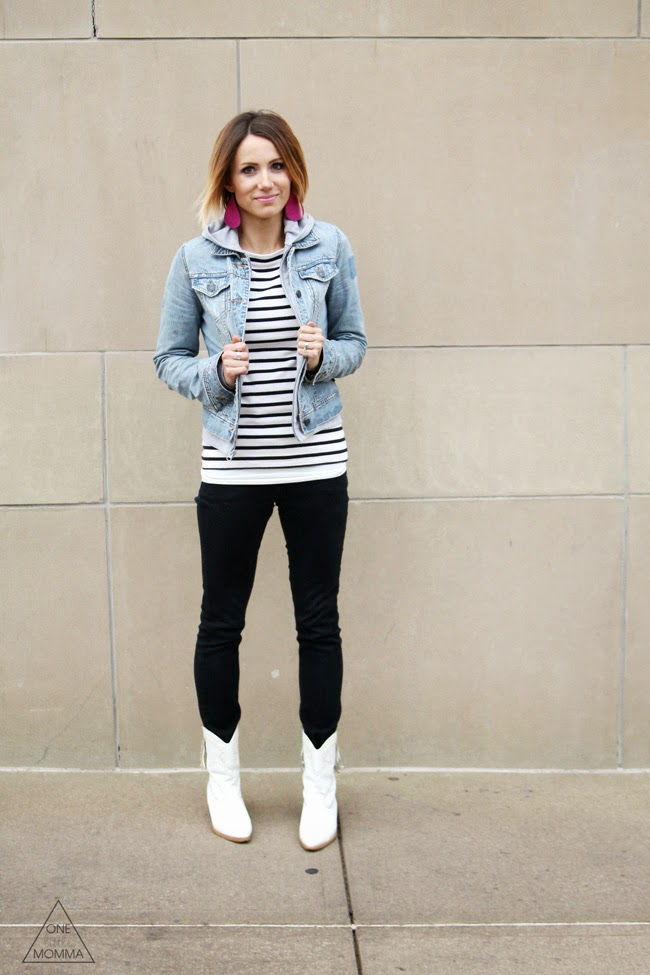 Stripes, gray hoodie layered with a denim jacket, black jeans and white ankle boots