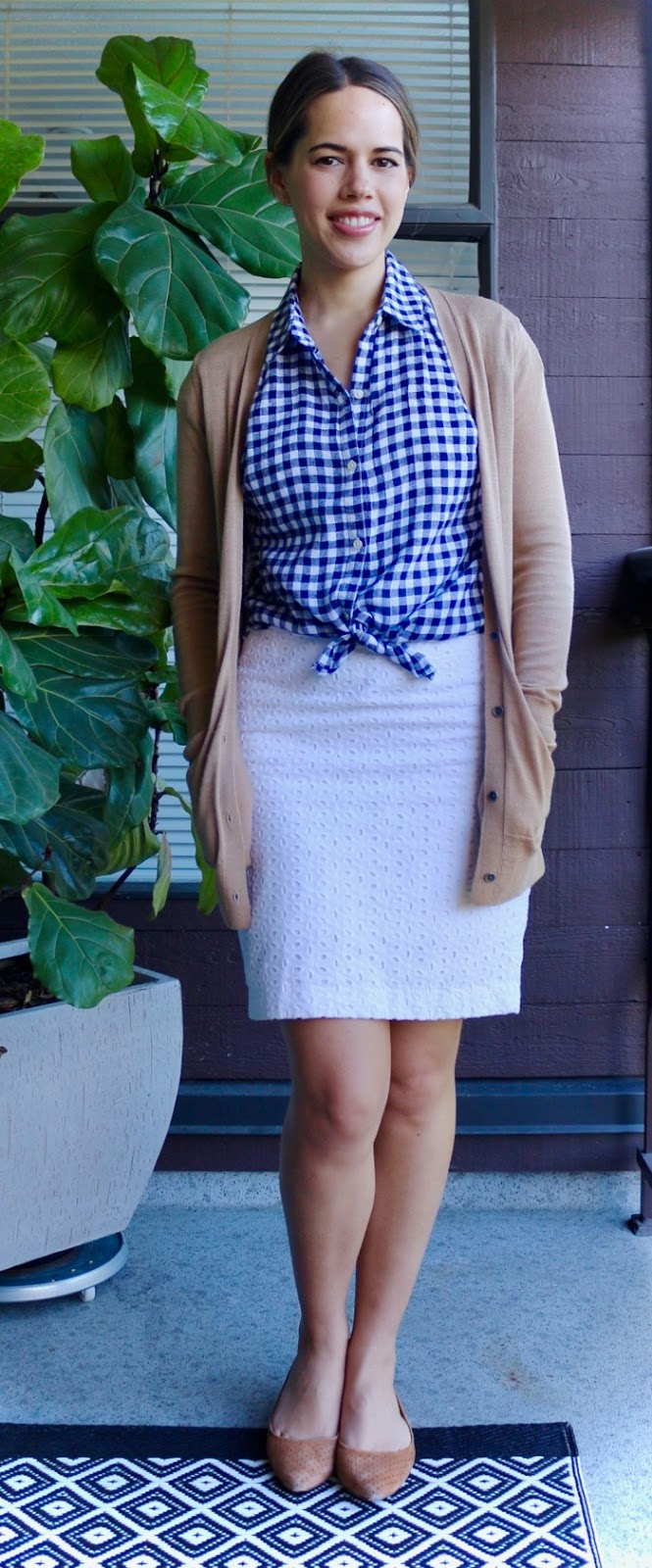 Jules in Flats - Gingham Tie-Front Top with White Eyelet Pencil Skirt