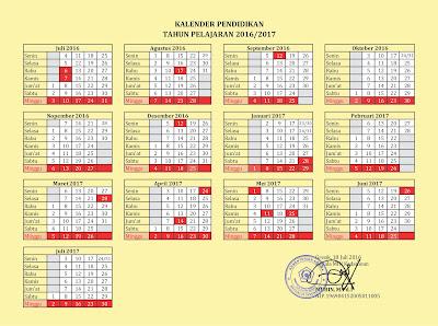 Kalender Pendidikan Tahun Pelajaran 2016/2017