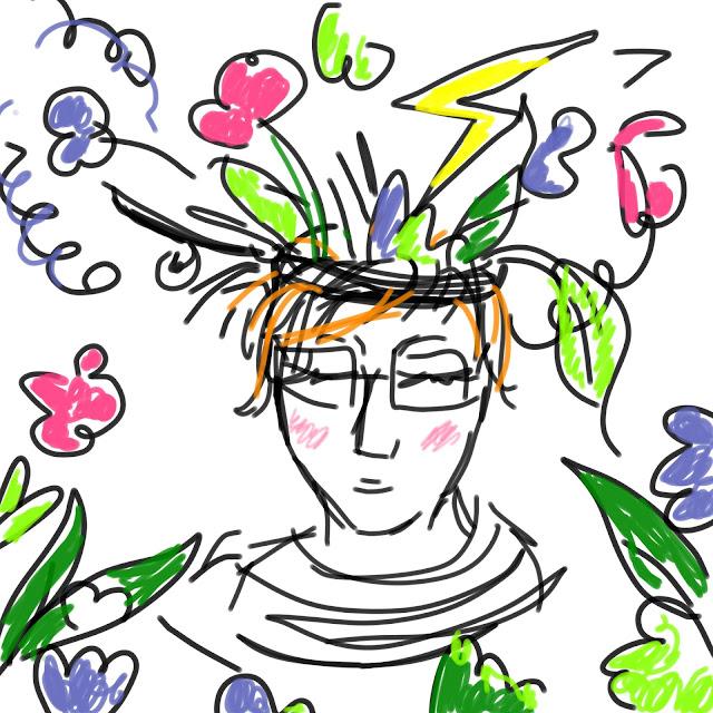 gezeichneter Kopf, aus dem ein Wirrwar von Blättern, Gedanken und Blitzen hervor quillt. Von Meike Kröger