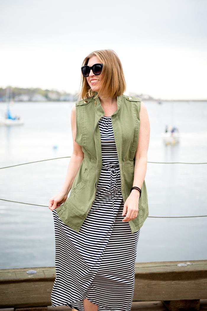 cabi boat stripe dress