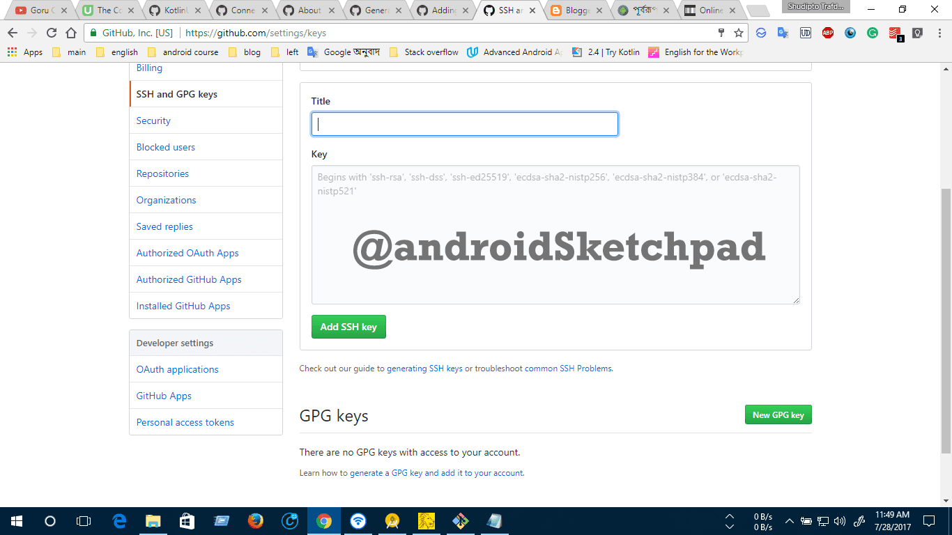 Android studio: share code on Github and add SSH key to you Git