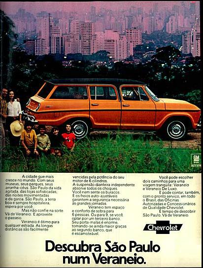 Propaganda dos anos 70 que apresentava a Veraneiro com convite para explorar a cidade de São Paulo