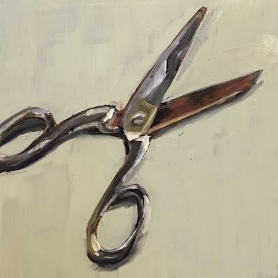 """Scissors"" Original oil painting on panel 15x15cm by Philine van der Vegte"
