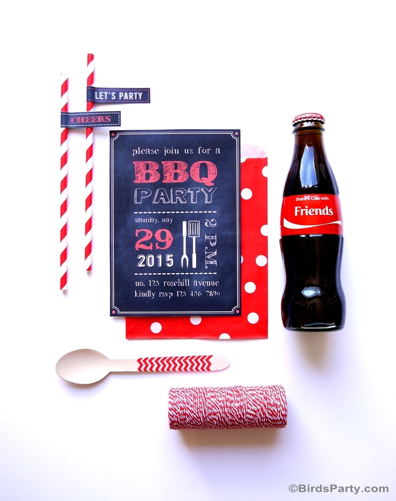 BBQ Party Chalkboard Invitations