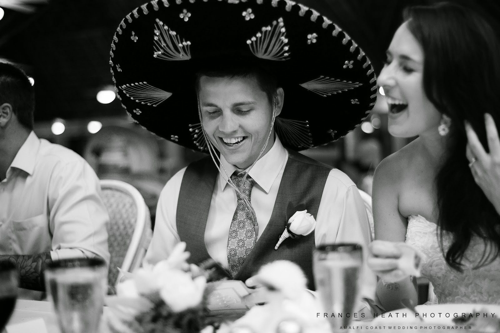 Groom wearing Mexican hat