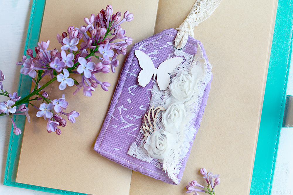 Мягкая скрапбукинг закладка, Soft scrapbook bookmark