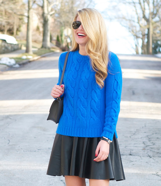 j.crew cerulean blue cashmere cable sweater