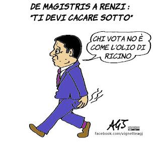 De Magistris, Renzi, satira, vignetta