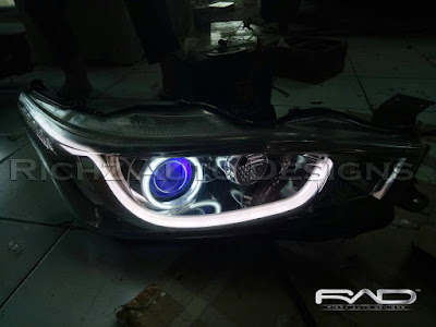 custom headlamp yaris, angel eyes+evil eyes+drl line