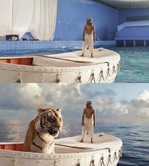 burrë dhe tigër hipur mbi varkë