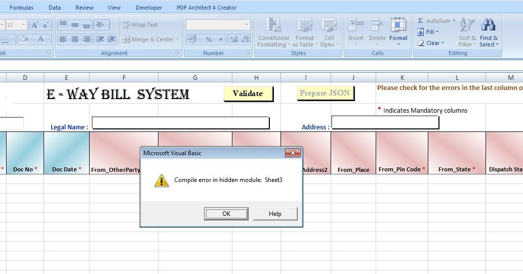 gst eway bill compile error in hidden module sheet 3 and