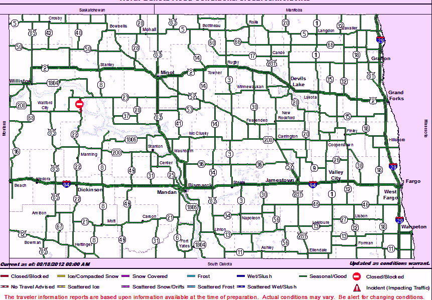 North Dakota Road Conditions Map Road conditions map North Dakota Road Conditions Map